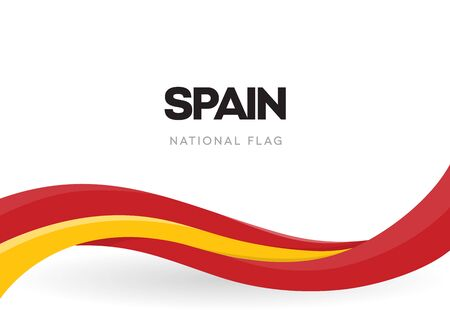 Spanish waving flag banner. National symbol of Spain. Red and yellow ribbon poster. The 12th of October holiday postcard. Discovery of America anniversary vector illustration. Annual celebration. Ilustração Vetorial