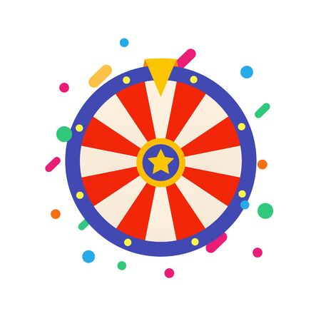 Flat Fortune wheel for Gambling game. Raffle prizes. Random choice wheel . Round colorful lottery, casino symbol. Online money bets sign. Isolated slot machine vector illustration