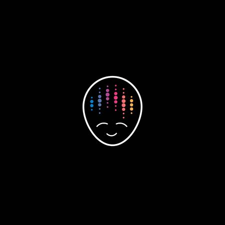 Audio meditation affirmation  concept. Disco music man face icon. Creative and positive thinking icon. Isolated artificial intelligence vector illustration Illustration