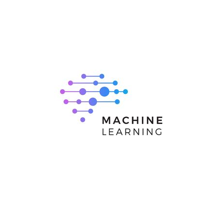 Machine learning  . Neurons connections, synapses emblem. Neural network. Isolated human brain icon. Artificial Intelligence innovation sign. AI symbol. Digital data vector illustration. Cyber tech.