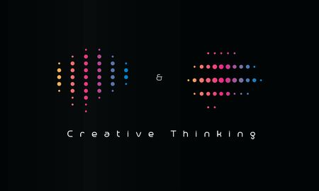Creative thinking  . Dotted machine learning emblem. Artificial intelligence engineering icon. Isolated creativity and imagination vector illustration. Colorful science innovations. Stock Illustratie
