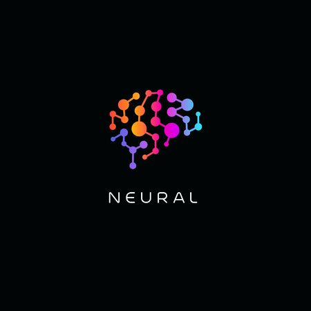 Neural network . Human brain emblem. Artificial intelligence icon. Creative thinking vector illustration. Isolated science innovation sign. Colorful neurobiology symbol. Ilustracje wektorowe