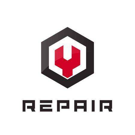 Car repair icon, auto service  concept, flat abstrac garage  template. Automotive workshop modern emblem idea.  concept design for business. Isolated vector illustration. Illustration