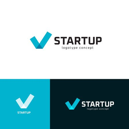 Successful startup business investment  set. Check mark emblem collection. Tick icon. Company success sign. Isolated letter v vector illustration.
