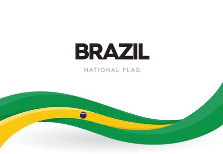 Brazil flag, wavy ribbon with colors of Brazilian national flag on white background for Independence Day or national holidays, isolated vector illustration