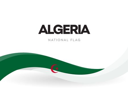 The People's Democratic Republic of Algeria waving flag banner. Algerian green and white patriotic ribbon poster. National public holiday celebration. Isolated Independence day vector illustration
