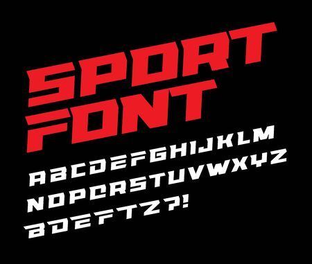 Sport font bold italic letters with dynamic slant and geometric cut for speed race, battle, fast delivery or fight poster driver alphabet vector typography design.