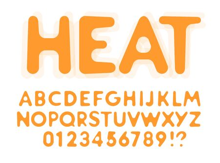 Heat molten letters and numbers set. Melted from hot sun. Rounded funny font for events, promotions, logos, banner, candy monogram and poster. Vector typography design