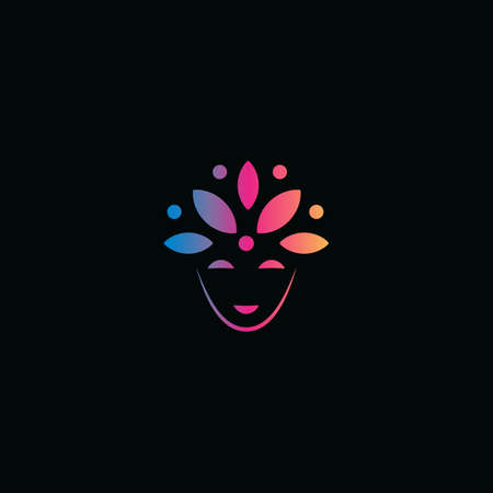 Abstract face and flower petals on head, carnival mask,  peaceful smile, vector illustration Illustration
