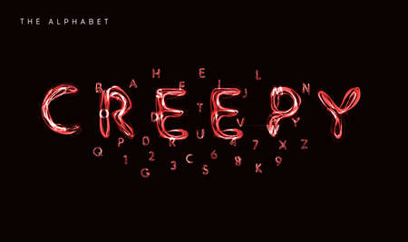 Creepy style alphabet, witchs potion font, lightning type for halloween poster, banner, logo and green lettering. Spooky and magical style letters, vector typography design