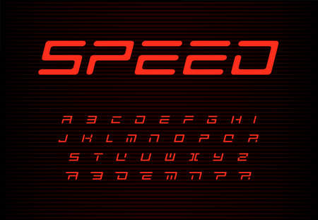 Speed letters set. Red auto vector alphabet. Automotive headline font. Dynamic style ABC, sport power monogram and poster template. Typography design  イラスト・ベクター素材