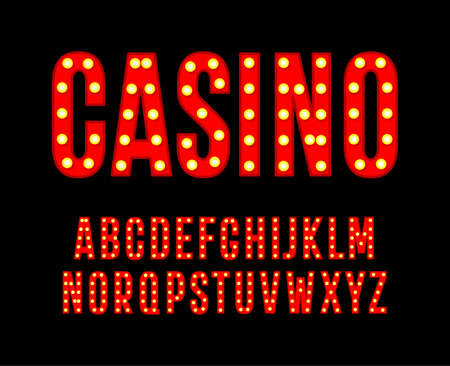Red letters with light bulbs. Tall and narrow alphabet. Font for cinema casino poster, carnival and festival decoration, gambling night club logos. Vector typography design 일러스트