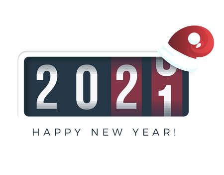 20201 New Year. Analog counter display, retro style design. Vector illustration.