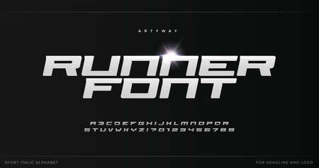Sport style alphabet for modern speed, dynamic poster headline, action typographic. Bold italic font. Minimal style letters with spurs serif. Vector typography design on black background.