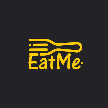 Linear fork with Eat Me text, line art icon on black background. Yellow cutlery, awesome vector logo concept. Flatware for restaurant, food delivery and catering