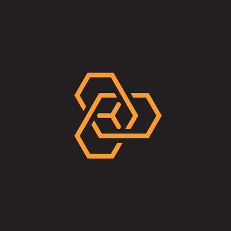 Abstract geometric twisting shpes, isolated icon on black background. Polygons contour shapes, simple line art style vector logo concept. Hexagonal unusual emblem for business and startup Çizim