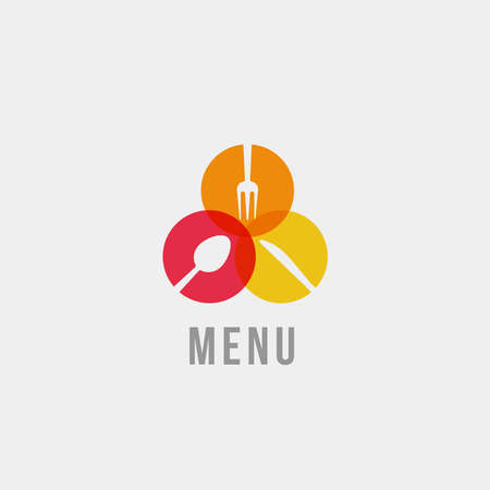 Spoon, knife and fork silhouette, isolated icon on grey background. Tableware in circles, flat cartoon style vector logo concept. Colorful menu icon for restaurant and food delivery business