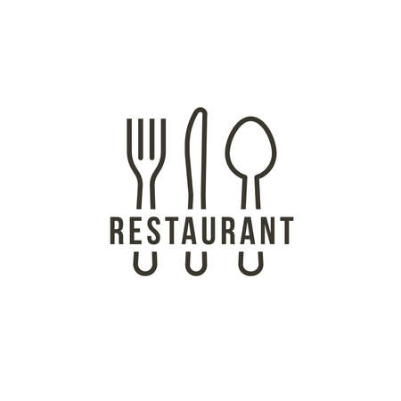 Knife, spoon and spoon, isolated icon on white background. Contour cutlery, simple line art style vector logo concept. Simple graphic for restaurant business, recipe book or cutlery shop Çizim
