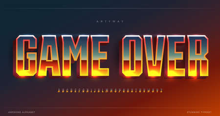 Awesome glowing gradient alphabet. Condensed stunning font, minimalist monumental type for bet game, gambling shining text. Minimal style tall sans letters, vector typographic design Çizim