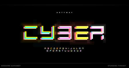 Awesome Cyber Futurism alphabet. Futuristic stunning font, geometric type, headline, creative lettering and typography. Overlay glitch modular letters, vector typographic design