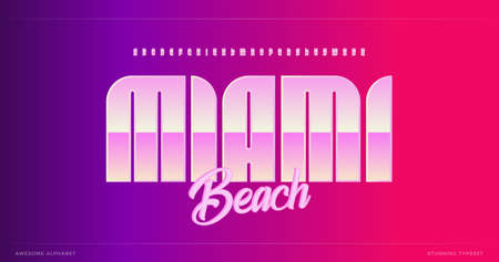 Sleek modern alphabet. Miami stunning font, minimalist type for modern futuristic, headline poster, creative lettering and modern typography. Minimal style letters, vector typographic design