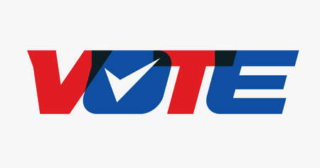 Vote uppercase capital bold letters, red and blue color, check mark inside letter O, concept, vector illustration. USA voting emblem