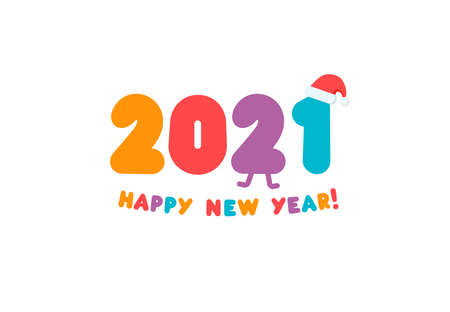 Awesome 2021 colored numbers greeting card for New Year. Children flat bright color logo for greeting card, calendar headline or holiday decorations. Vector illustration Çizim