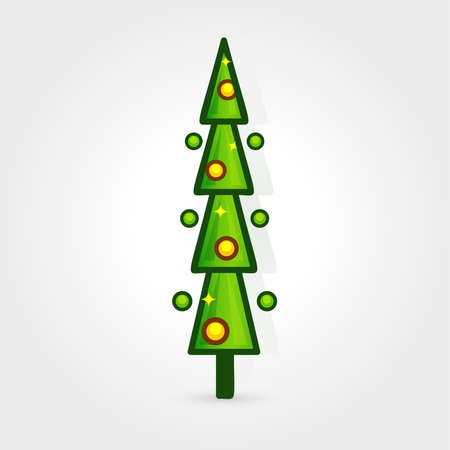 Christmas tree vector icon. Decorated tree in flat line art style. Green pine for design of greeting cards and invitations to New Year holidays and Christmas. Çizim