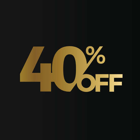 Golden 40 percent off flat cartoon style vector concept. 40 % sale isolated icon on black background. Forty percent discount for business. Vector illustration
