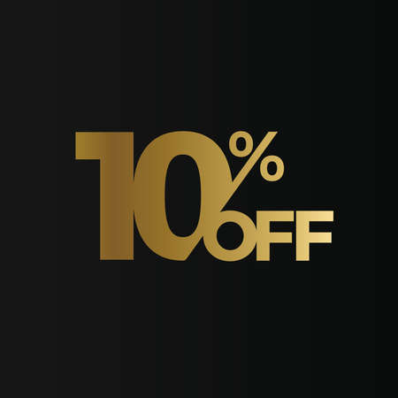 Golden 10 percent off flat cartoon style vector concept. 10 % sale isolated icon on black background. Ten percent discount for business. Vector illustration
