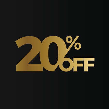Golden 20 percent off flat cartoon style vector concept. 20 % sale isolated icon on black background. Twenty percent discount for business. Vector illustration Çizim
