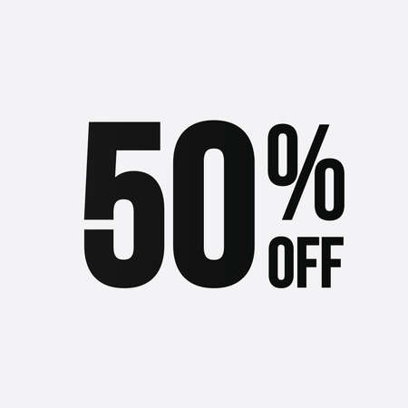 Golden 50 percent off flat cartoon style concept. 50 % sale isolated icon on white background. Fifty percent discount for business.