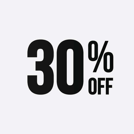 Golden 30 percent off flat cartoon style concept. 30 % sale isolated icon on white background. Thirty percent discount for business. Çizim