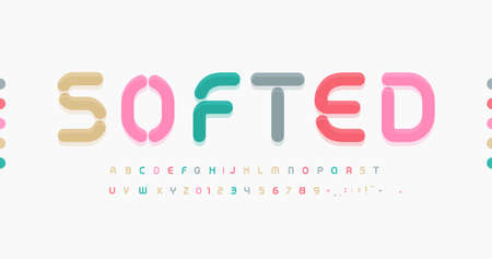 Awesome Softed Alphabet. Soft rounded font, minimal type for modern futuristic headline, monogram, creative lettering and color typography.