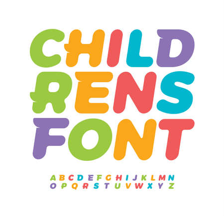 Baby letters with funny tail serif. Awesome children alphabet. Colored bold italic font, type for baby room, creative packaging design and kids zone color lettering.