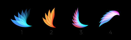 Beauty petals flat cartoon style vector logo set concept. Abstract light gradient wings symbol collection for business and startup. Colored feathers isolated icons on black background. Çizim
