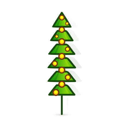 Christmas tree vector icon. Decorated tree in flat line art style. Green pine for design of greeting cards and invitations to New Year holidays and Christmas. Cartoon coniferous vector illustration.