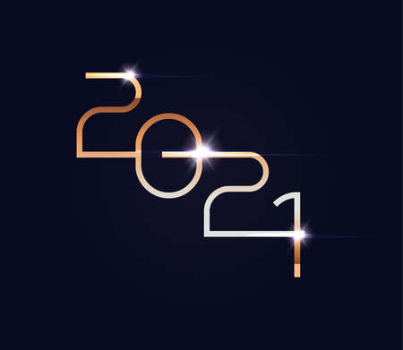 2021 new year golden numbers on black background, unusual logo, isolated vector illustration