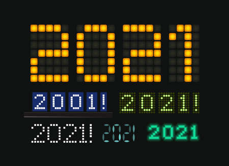 Figures 2021 vector set, glowing numbers on electric display. Characters on for trendy futuristic New Year card, digital display and scoreboard for business. Vector illustration Çizim