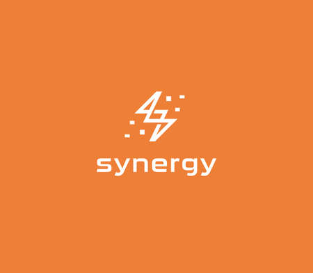 Abstract lightning flat linear style vector logo concept. Electrical energy isolated icon on orange background. Idea symbol for business and startup