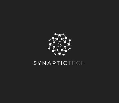 Synapse structure, abstract vector logo concept. Synaptic tech emblem, isolated icon on white background. Round dot surface logotype for innovate medical business and digital technology startup Çizim