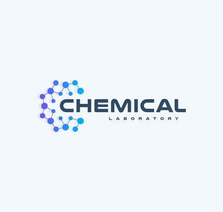 Chemical innovation tech logo, flat cartoon style vector logo concept. Round lattice with nodes, isolated icon on white background. Abstract blue logo for medical technology and developing startup