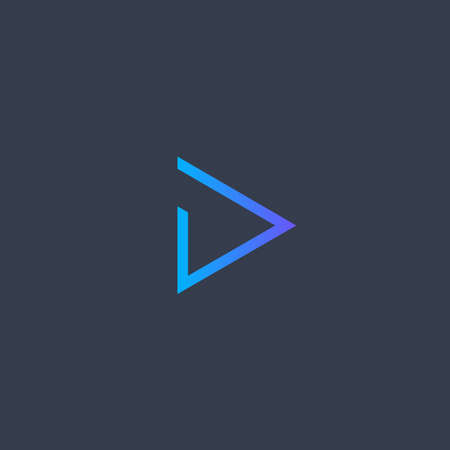 Play icon. Abstract blue gradient line triangle button. SImple flat abstract logo template. Modern emblem idea. Logotype concept design for media. Isolated vector illustration