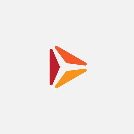 Play icon. Abstract triangle button. Orange gradient sImple flat abstract logo template. Modern emblem idea. Logotype concept design for media. Isolated vector illustration