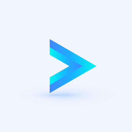 Play icon. Abstract triangle button. Blue gradient sImple flat abstract logo template. Modern emblem idea. Logotype concept design for media. Isolated vector illustration