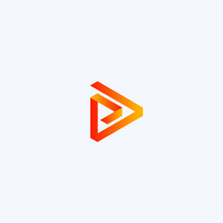 Play icon. Abstract triangle button. Orange linear gradient sImple flat abstract logo template. Modern emblem idea. Logotype concept design for media. Isolated vector illustration