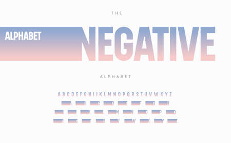 Negative space alphabet. Stunning color gradient font, condensed type for modern  , headline, monogram, creative lettering and maxi typography. Minimal style tall letters, vector typographic design