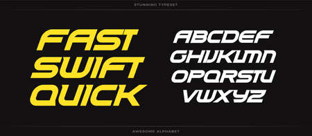 Fast swift quick alphabet. Sport font. Bold speed italic type for energy , automotive headline, endurance monogram, lettering and typography of power. Expanded letters, vector typographic design