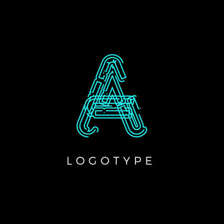 Cyber letter A for digital technology logo concept. Contour circuit style monogram for artificial intelligence product symbol, robotic system logo and vector type design