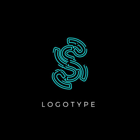 Cyber letter S for digital technology logo concept. Contour circuit style monogram for artificial intelligence product symbol, robotic system logo and vector type design